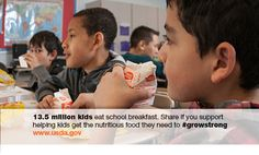 Dept. of Agriculture @USDA  Mar 12 13.5M kids eat school breakfast every day. RT if you support kids getting the healthy food they need to #growstrong.