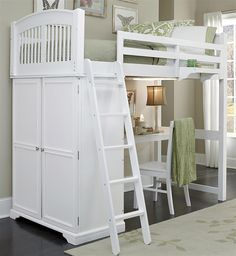 Loft Bed with Desk in White