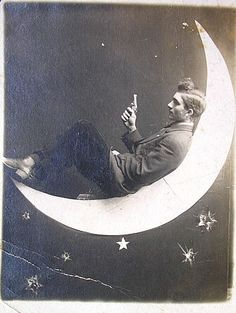 shoot for the moon, papermoon postcard ca. 1910