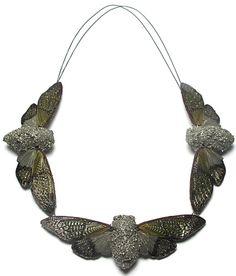 Märta Mattsson, Necklace, 2012, crushed pyrite, silver, resin, cicadas, 20 in