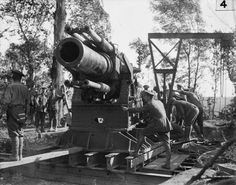 MINISTRY INFORMATION FIRST WORLD WAR OFFICIAL COLLECTION (Q 37)   Battle of Albert. 15-inch howitzer being prepared for action; 1st July 1916.