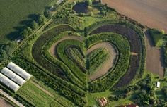 """""""Hearts in nature: [11] naturally occurring and man-made heart shapes photographed from the air"""" Shown: Heart-shaped garden in Waltrop, Germany"""