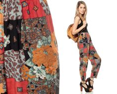 Hippie Pants 90s Trousers PATCHWORK Print Red Black by ShopExile, $37.00