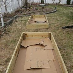 Add cardboard to kill grass, keep down weeds in raised gardens, from @Diy