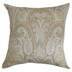"Cotton pillow with a paisley motif and feather-down fill.  Product: PillowConstruction Material: Cotton cover and feather down insertColor: MultiFeatures:  Hidden zipper closureReversibleInsert included Dimensions: 18"" x 18""Cleaning and Care: Spot clean recommended"