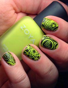 acid green and black nails