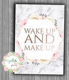 Wake Up & Make Up- Marble Print -Rose Gold- Personalised - Modern Decor - Girls Room Prints - Bedroom Decor - Office Prints - Nursery Prints Preteen Bedroom, Pink Bedroom For Girls, Bedroom Themes, Diy Bedroom Decor, Bedroom Designs, Bedroom Furniture, Bedroom Ideas, Gold Bedroom, Bedroom Inspo