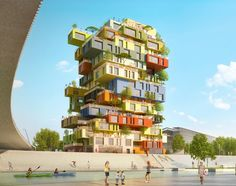 The architectural composition of Folie Richter is part of a process of innovation in housing and quality of life, the Vertical Village project reveals the indi. Montpellier, France City, Container Buildings, Student House, Urban Architecture, 18th Century, Facade, The Neighbourhood, Multi Story Building