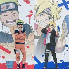 Naruto y boruto uzumaki Naruto Vs Sasuke, Naruto Fan Art, Kakashi Sensei, Naruto Anime, Naruto Cute, Uzumaki Family, Naruto Family, Anime Family, Boruto Naruto Next Generations