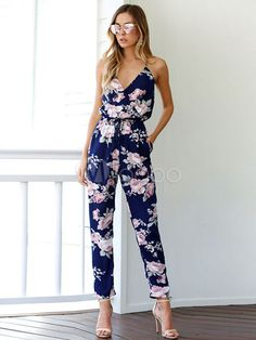 Cheap bodycon overalls, Buy Quality casual jumpsuit directly from China overall jumpsuit Suppliers: 2017 Summer Women Casual Jumpsuit Romper Sexy Strap V Neck Backless Floral Print playsuit Beach Elegant chiffon Bodycon Overalls Floral Playsuit, Floral Jumpsuit, Printed Jumpsuit, White Jumpsuit, Cotton Jumpsuit, Beach Playsuit, White Pants, Backless Jumpsuit, Casual Jumpsuit