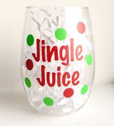 Christmas Wine Glass  Jingle Juice by SurceeMonogramShop on Etsy