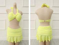 Sweet Halterneck Ruffled Criss-Cross Flouncing Three-Piece Swimwear For Women (YELLOW,XL) | Sammydress.com