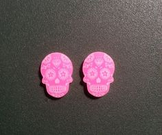 Diamond Sugar Skull Acrylic Ear Rings with Color by Wrayland