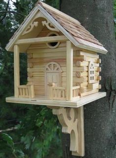 Rustic Log Cabin Bird House