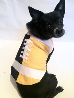 6b74ef651 Dog Steelers Football Outfit Costume Black and Yellow PawPrint Reversible