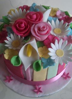 Flower themed Mothers day cake.