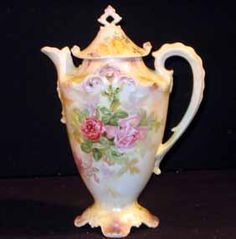 R.S. Prussia chocolate pot with pink and red roses.