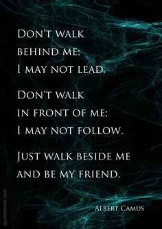 Don't walk behind me; I may not lead. Don't walk in front of me; I may not follow. Just walk beside me and be my friend.   –Albert Camus #equality #friendship http://quotemirror.com/s/ioekg