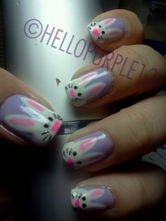 Easter Nails - Cute idea but not on every nail...maybe ring and thumb only or just ring finger only??