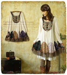 Discover thousands of images about Mori Girl Girl Japanese, Japanese Fashion, Vestidos Vintage, Vintage Dresses, Moda Harajuku, Alter Pullover, Long Sleeve Cotton Dress, Mori Girl Fashion, Tokyo Street Fashion