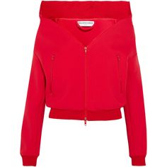 Balenciaga Swing jersey jacket (1 245 AUD) ❤ liked on Polyvore featuring outerwear, jackets, balenciaga, tops, red, off the shoulder jacket, cropped jackets, red jersey and zipper collar jacket