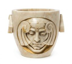 An Art Deco Alabaster Jardiniere, Width over handles 16 : Lot 247