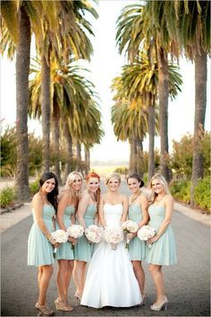 mint green bridesmaids dresses with stunning beachside venue. Love the short bridesmaids dresses. This is what I like