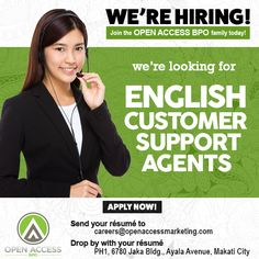 Open Access BPO is in need of ‪#‎CustomerService‬ agents. CLICK now to apply!