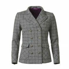 Grey and Charcoal Check Amber Coat Tweed Jacket, Suit Jacket, Shetland Wool, Winter Warmers, Double Breasted Coat, Shoulder Pads, Winter Coat, Amber, Charcoal