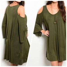 """NEW OLIVE KNIT JERSEY DRESS Flowy jersey knit dress features exposed shoulders, long sleeves and scooped neckline. 65% rayon 35% viscose. Small measures L35"""" B19"""" W20"""" S - 2 M - 2 L - 2 Please comment size needed below.  PLEASE DO NOT BUY THIS LISTING. Allow me to make your separate listing for you or help you make a bundle ❤️.  NO PAYPAL NO TRADES. Price is firm unless bundled. Dresses"""