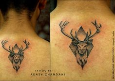 Checkout this small realistic stag tattoo by Akash Chandani @the_inkmann  At  Skin Machine Tattoo Studio   The Stag is a symbol of Strength, Gentleness, Kindness, and Motherhood.  Hope you guys like this too :)   Email for bookings - skinmachineteam@gmail.com Your views , shares and comments would be appreciated !  #inked #art #stag #stagtattoo #smallrealistictattoo #realismtattoo #artist #akashchandani #tattoos #backtattoos #superbtattoos #inked #inkedlife