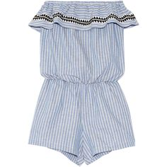 LemLem Amara embroidered striped cotton-blend playsuit ($310) ❤ liked on Polyvore featuring jumpsuits, rompers, dresses, playsuit, blue, beach jumpsuit, stripe romper, striped rompers, boho jumpsuit and romper jumpsuit