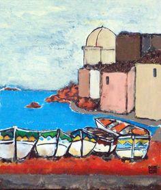 Petillo Piero. Painting- oil on canvas.Sestri Levante - La baia del silenzio 沈黙の湾