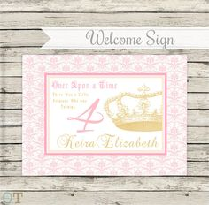 WELCOME Sign Personalized Vintage Crown Pink and Gold Princess Theme Girl Baby Shower Birthday Party Printable Package Digital Download on Etsy, $6.81 CAD
