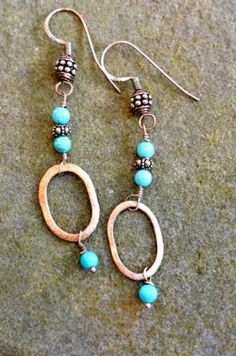 Hand-made sterling silver and turquoise earrings...want!