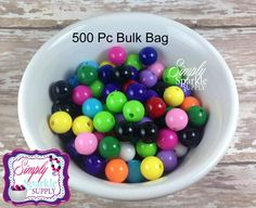 Mix Color Solid 12mm Beads 500 pc BULK BAG WHOLESALE Gumball Beads Chunky Beads Resin Beads Round Beads Plastic Beads Bubblegum Beads