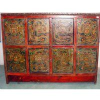 "Antique Chinese Tibetan 59"" Painted 4 Hidden Door Cabinet with Dragon paintings"
