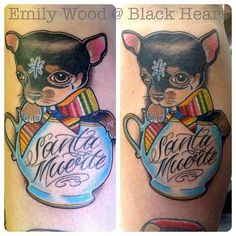 Chihuahua in a teacup by Emily Wood - Black Heart Tattoo Studio, Epsom, UK - Kitty in teacup would be cute Emily Wood, Teacup Tattoo, Black Heart Tattoos, Tattoo Studio, Chihuahua, Tea Cups, Kitty, Ink, Cute