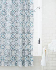 Nicole Miller Fabric Shower Curtain Damask Ombre Aqua Blue Teal ...