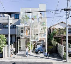 House NA by Japanese architect Sou Fujimoto has three storeys that are subdivided into many staggered platforms. The few walls that do exist are mostly glass, making certain spaces secure without adding privacy.