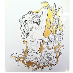 Painting. Canvas. Girl. Flowers. - By Ana Maturana