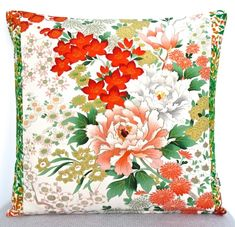 Stunning Floral Vintage Kimono Hand Painted Silk Cushion Perfect gift for Mum! £59.00