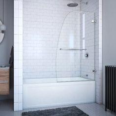 "SUNNY 59"" W x 62"" H Semi-Frameless Shower Door | Wayfair Tub Shower Doors, Bathtub Doors, Frameless Shower Doors, Shower Bathroom, Shower Enclosure, Bathroom Fixtures, Pivot Doors, Sliding Doors, Tub Surround"