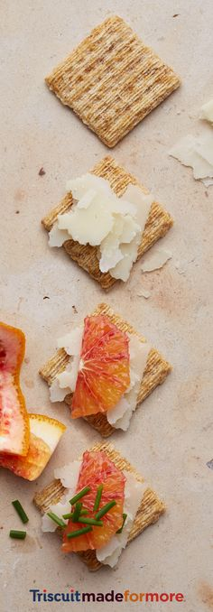 A vampire's second favorite snack. A juicy slice of blood orange, sharp pecorino cheese and fresh chives on a Triscuit. You'll want to sink your teeth into the chiveorainoscuit. For more snacking inspiration, check out our new Triscuit boards.