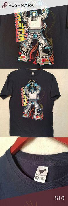 Teefury Optimus Prime Parody shirt men's M Optimus prime and Back to the Future mashup! From Teefury. Men's / unisex medium. Excellent condition! teefury Shirts Tees - Short Sleeve