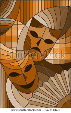 Illustration in stained glass style on the theme of carnival, abstract, mask, sepia