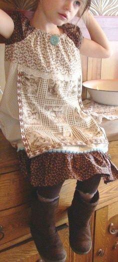 SALE Mochaccino Mousse girl's peasant by 3littlebirdsboutique, $36.00
