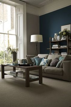Dark blue wall. Living room decor. #bold #colour