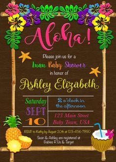 Luau bebé ducha invitación Aloha bebé ducha invitación