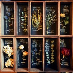 dried flowers- possibly in a drawer with the back painted with chalkboard